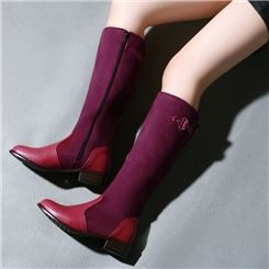 Multi Color Patchwork Buckle Chunky High Boots Knee High Boots- ericdress.com 10984719