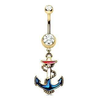 Vintage Anchor Dangle Navel Ring