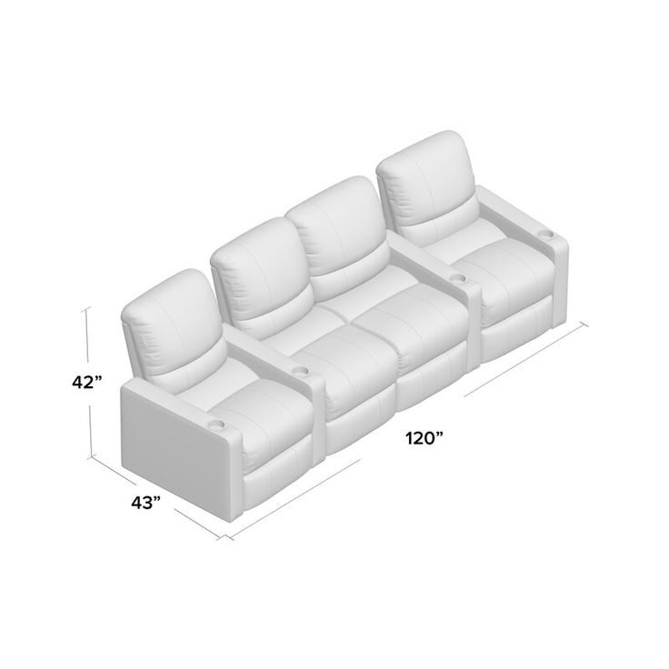 Center home theater curved row seating row of 4 home