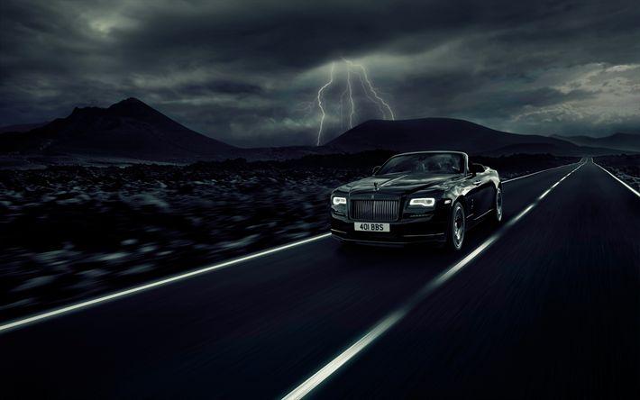 Descargar fondos de pantalla Rolls-Royce Amanecer Negro Insignia de 2017, coches, coches de lujo, cabriolets, Rolls-Royce