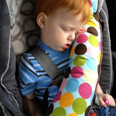 This is adorable (the pillow...not the child, although he's pretty cute as well!). Some stuffing, some cloth, and two strips of velcro are all you need. Your little one will never again wail that his/her favorite pillow is out of reach on the car or airplane floor.