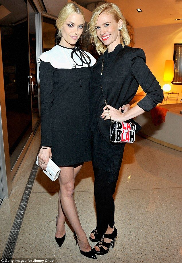 Jaime King in Valentino, Jimmy Choo 'Candy' clutch and 'Addison' heels and January Jones in Jimmy Choo 'Hammer' heels and 'Candy' clutch at the launch of Choo.08.