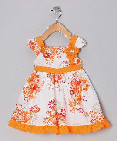 Take a look at this Orange Floral Ruffle Dress - Infant, Toddler & Girls by Donita on #zulily today!