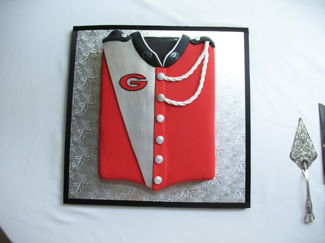 UGA Georgia bulldog marching band uniform cake