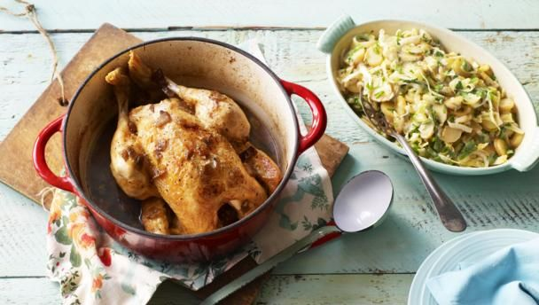 Pot-roast chicken with potato ragù |      Pot-roasting chicken makes it incredibly moist. This hearty recipe is perfect for a cold evening.