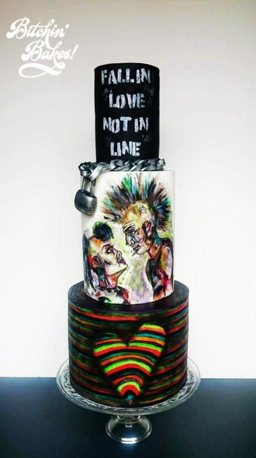 Punk Love - Cake by Sharon Fitzgerald @ Bitchin' Bakes #punkcake #punk #love