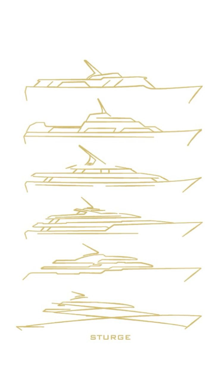 Yacht illustration, the evolution of yacht design. The Motor yacht by Sturge des…