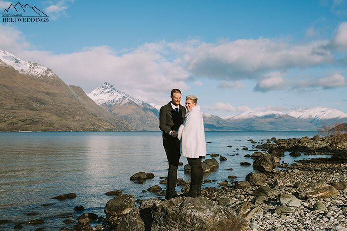 4wd wedding package in Queenstown with winter photos lakeside New Zealand
