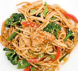Chicken and Noodles that Ana and Grey made together in Fifty Shades Darker page 50 - see the red peppers?!