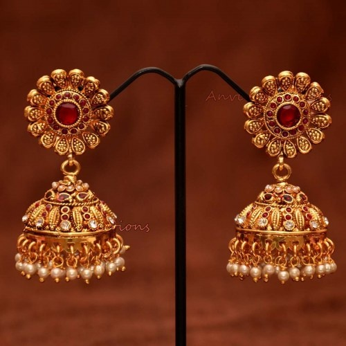 Anvis bridal pearl and rubies floral jhumkas
