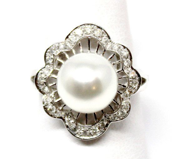 18 k oro blanco diamante y perla anillo 10mm 5,80 mar del Sur blanco 0,31 ct diamantes Vintage estilo