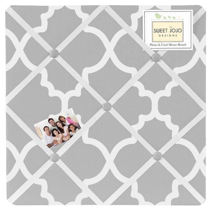 Sweet Jojo Designs Fabric Memo Board - Trellis - Gray & White