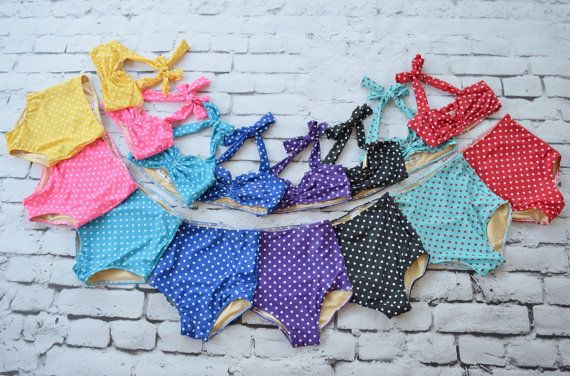 The itty bittyist high waist polka dot bikini for your baby girl! Made from Nylon/ spandex Hater style top full coverage bottoms high waist bottoms.