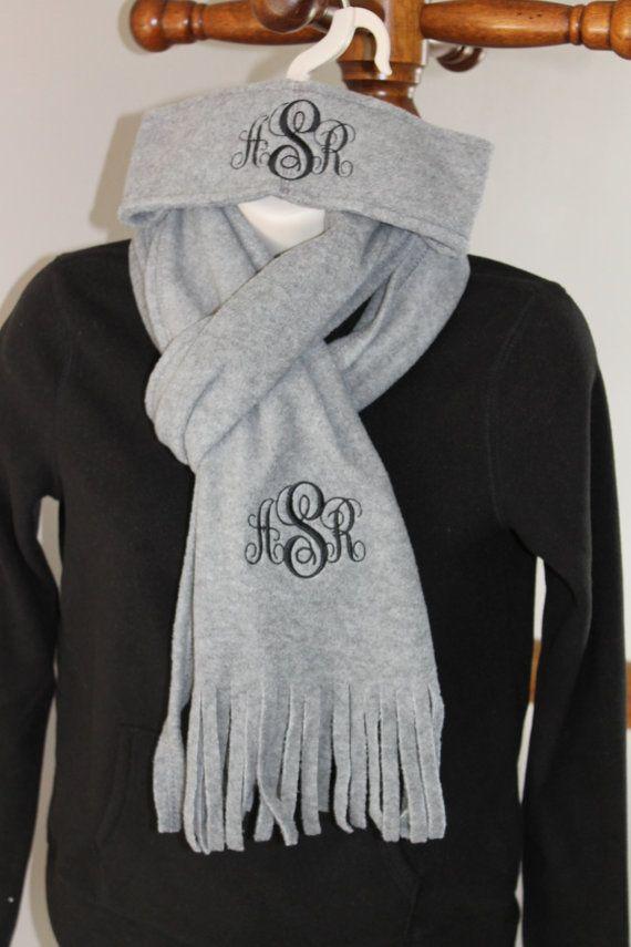 Soft fleece headband & scarf set with monogram by FunToStitch on Etsy