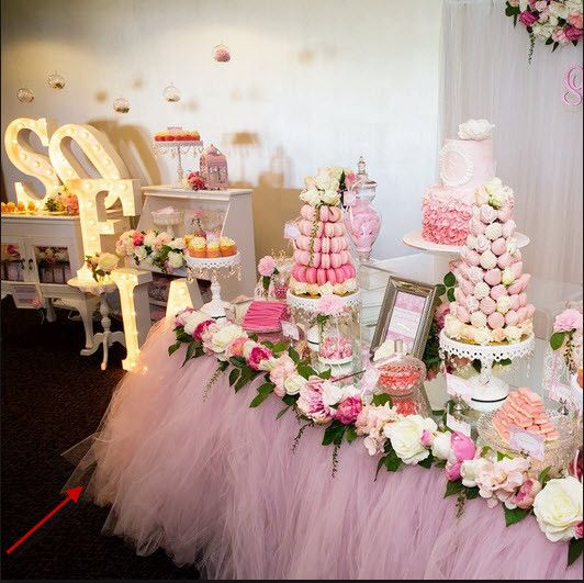 Party Birthday Wedding Candy Table Skirt - The display floral table skirt is a custom piece with hand sewed floral accents. - You can request various color tulle skirts and floral colors (inbox us) fo