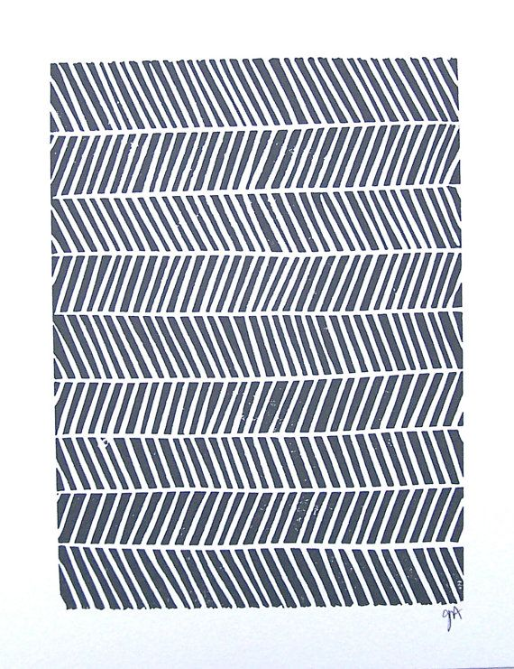LINOCUT PRINT geometric pattern grey chevron by thebigharumph