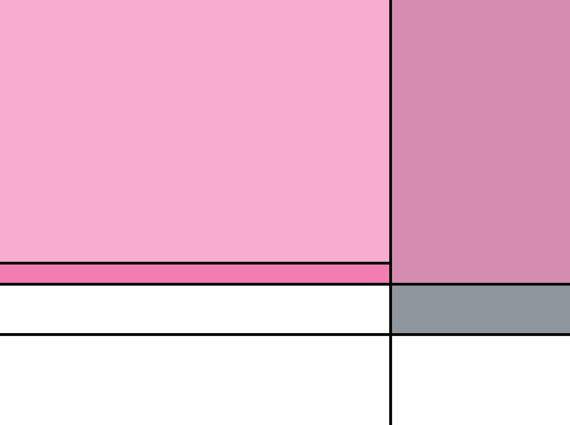 White And Pink Mondrian Abstract Wall Art Print.