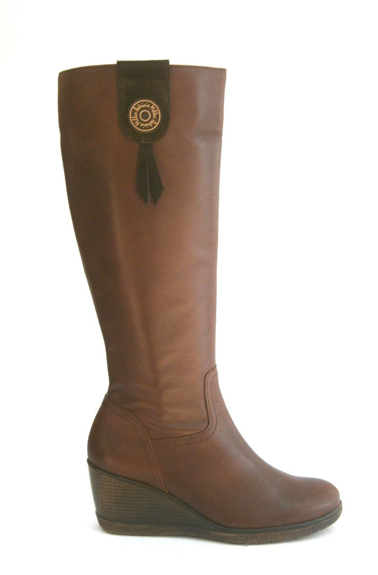 MODELO 3027 CASTAÑO #botas#cuña#piel#hechoenespaña