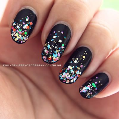 sparkle nails: Nails Art, Nails Design, Nailsart, Sparkle Nails, Black Nails, Glitter Nails, Nails Polish, Glitter Tips, New Years