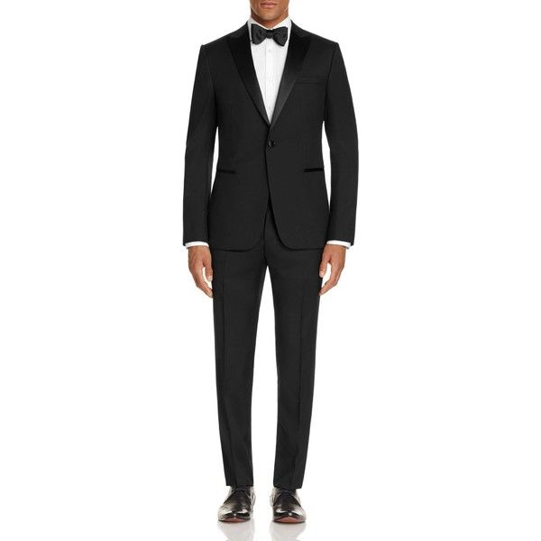 Z Zegna Satin Peak Lapel Slim Fit Tuxedo ($1,395) ❤ liked on Polyvore featuring men's fashion, men's clothing, men's suits, black, mens slim suits, slim fit mens clothing, mens tuxedo suits, mens slim fit suits and mens slim cut suits