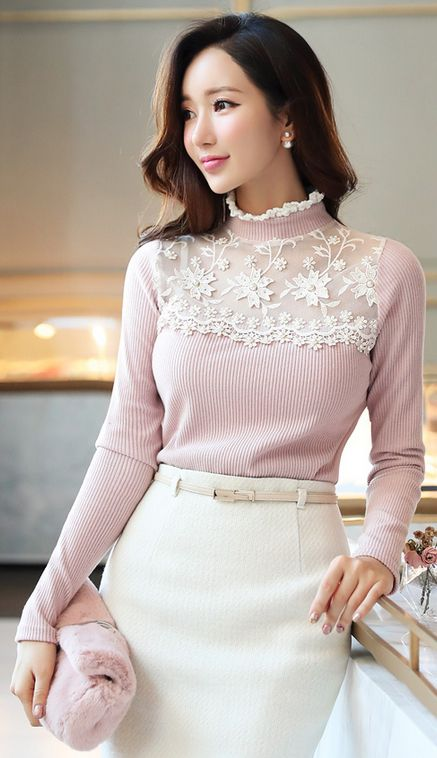 StyleOnme_See-through Floral Lace Mock Neck Ribbed Tee #white #pink #pastel #tee #lace #sheer #koreanfashion #seoul #feminine #cute #kstyle #winter