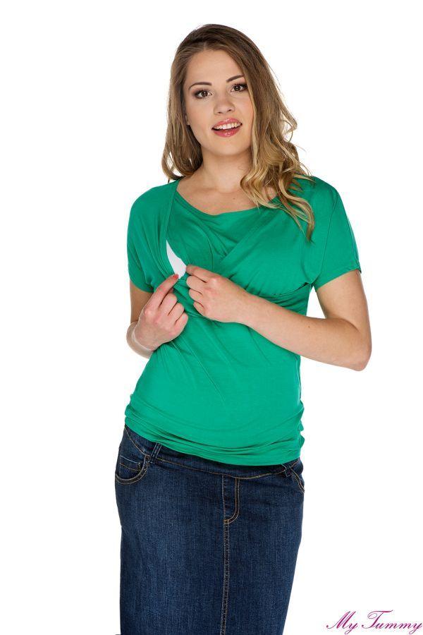 Bluzka kopertowa do karmienia zielona