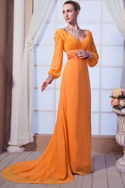 Elegant V-Neck A-Line Celebrity Dress wr1917 - http://www.weddingrobe.co.uk/elegant-v-neck-a-line-celebrity-dress-wr1917.html - NECKLINE: V-Neck. FABRIC: Chiffon. SLEEVE: Long Sleeves. COLOR: Orange. SILHOUETTE: A-Line. - 141.59