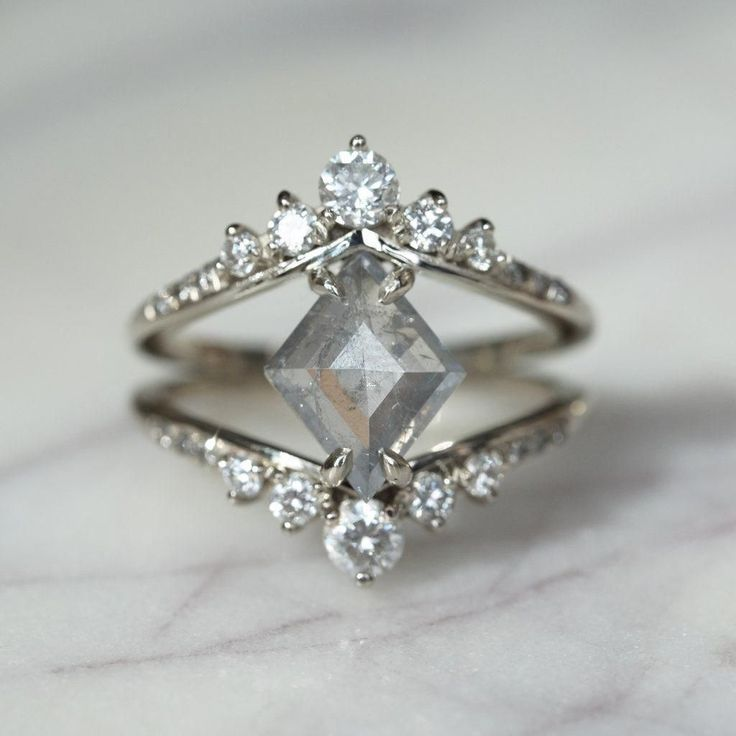 1.57 Carat Grey Geometric Diamond Engagement Ring, Duchess Setting, 14k white gold