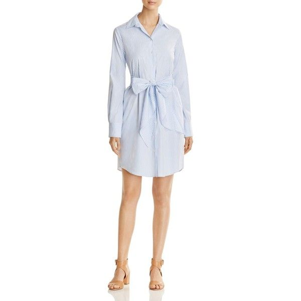 Weekend Max Mara Reus Striped Poplin Shirt Dress - 100% Bloomingdale's... (£325) ❤ liked on Polyvore featuring dresses, light blue, long shirt dress, light blue dress, striped dress, weekend max mara dress and striped shirt dress