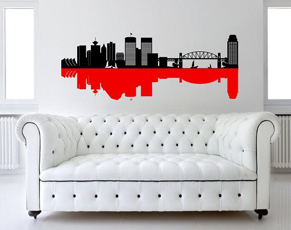 Vancouver Canada City Harbor Skyline Silhouette Removable Wall