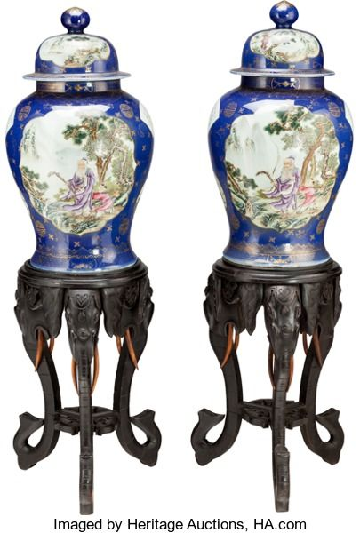 Asian:Chinese, A LARGE PAIR OF CHINESE BLUE PORCELAIN GINGER JARS ON CARVED WOODBASES. 27 inches high (68.6 cm) (jars). ... (Total: 2 Items)