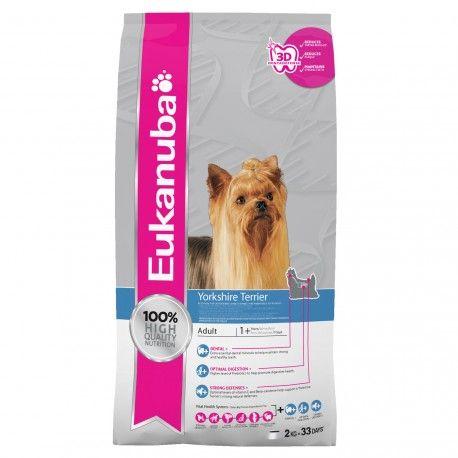 Eukanuba Yorkshire Terrier, especialmente desenvolvido com proteína de alta qualidade e nutrientes que garantem uma pele sã, e com um croquete especial, adpatado à sua mandíbula que ajuda a reduzir a formação de placa bacteriana e tártaro.