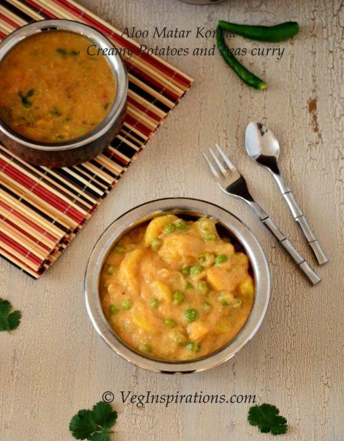 Korma - Creamy Potatoes and Green peas curry | gluten free, vegetarian ...