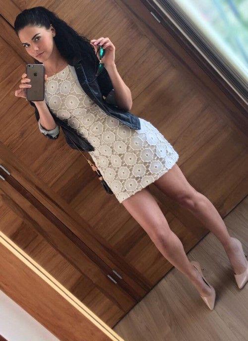 "sinful-galpresley: ""Create high heels and heels porn "" I ❤️ her cute mini dress and high heels, she has beautiful legs"