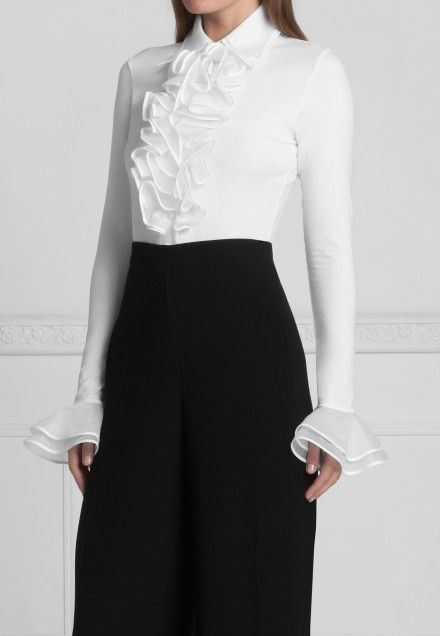 Double Collar Pima Blouse with Ruffle and double Cuff: Patsy   Anne Fontaine