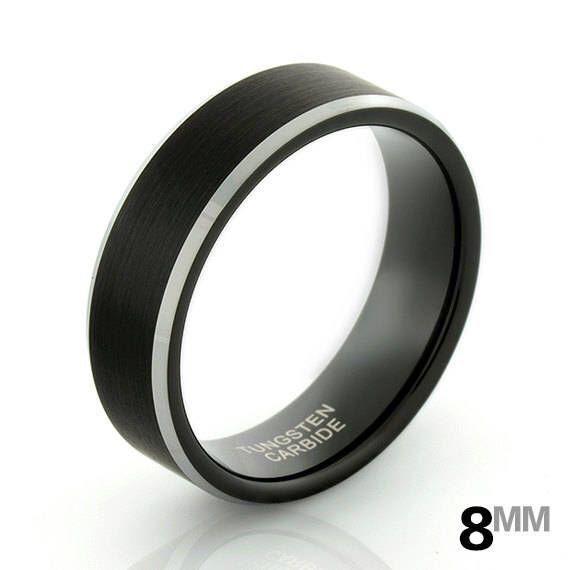Men's Black Ring, Men's Black 8mm Tungsten Ring, Brushed Black w/ Silver Edges, Men's Wedding Band, Black Comfort Fit Ring, Engagement Ring by 316design on Etsy https://www.etsy.com/au/listing/537509037/mens-black-ring-mens-black-8mm-tungsten