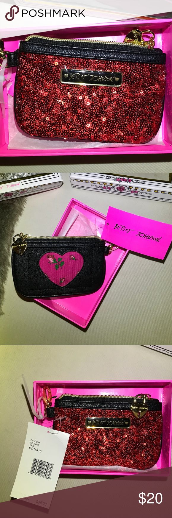 """Betsey Johnson sequins coin purse Red sparkly Betsey Johnson coin purse/ key chain or purse charm. Black-side has a Heart Id   Window. Gold Heart lock for zipper pull. logo plate on front . Pink interior. 6"""" width 3 3/4 height. New with Tags In box. Betsey Johnson Bags Wallets"""