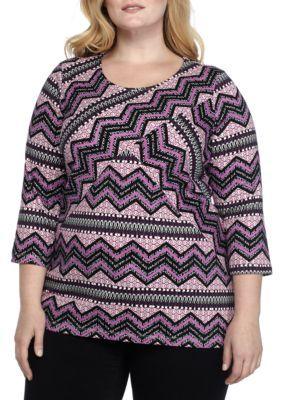 Kim Rogers Women's Plus Size 3/4 Criss Cross Geometric Chevron Top - Lilac Combo - 3X