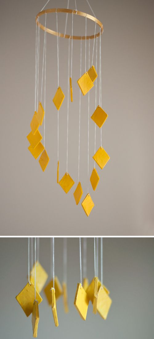 Easy DIY! Make a Chandelier Mobile in Any Color You Choose  |  Design Mom: Diy Chandeliers, Chand Mobiles, Yellow Chandeliers, Diy Chand Easy, Design Mom, Chandeliers Mobiles, Make A Chandeliers, Easy Diy, Clay Chand