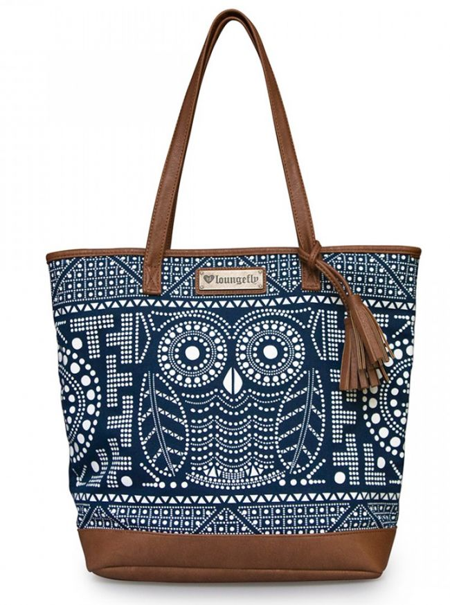 """Owl"" Tote Handbag by Loungefly (Navy/White)"