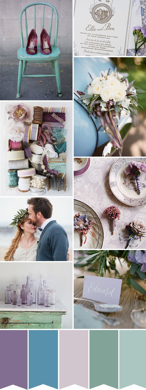 Purple and Blue Wedding Inspiration | onefabday.com  Really like all the colors in this palette.