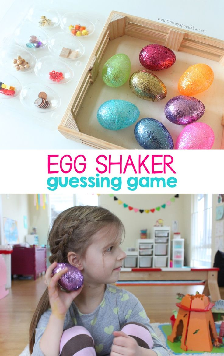 Listening game and guessing game for children using plastic Easter eggs  - fun sense of hearing center
