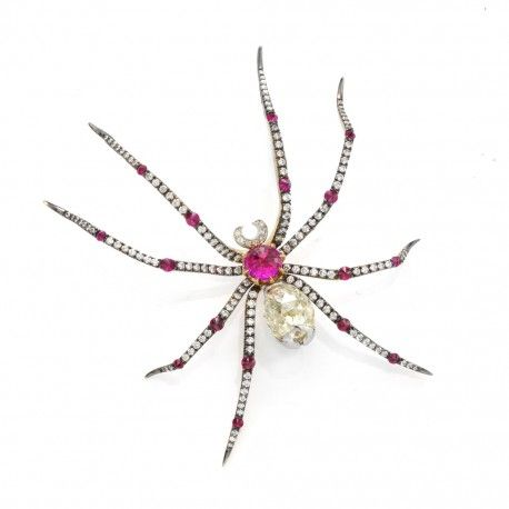 Ruby and diamond spider brooch by Taffin