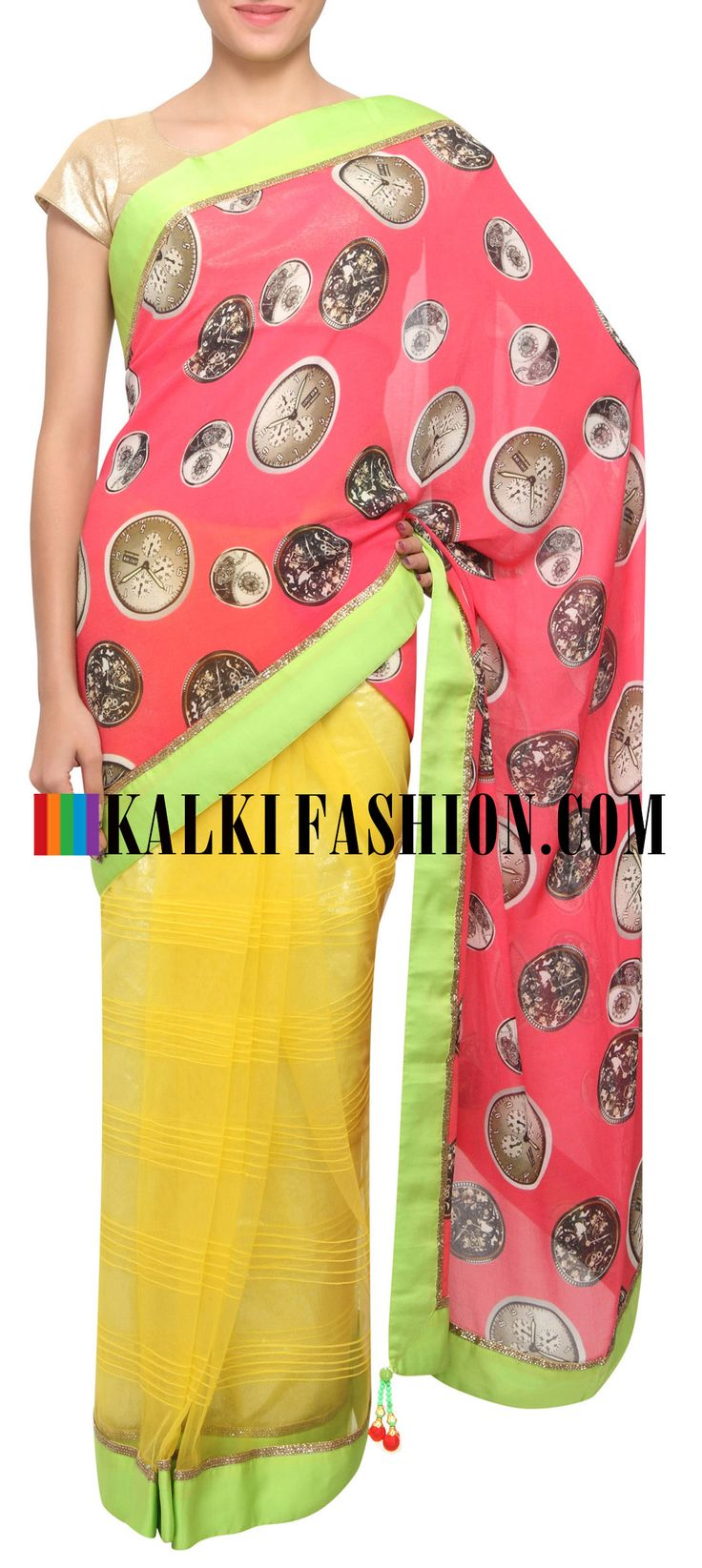 Buy Online from the link below. We ship worldwide (Free Shipping over US$100) http://www.kalkifashion.com/half-and-half-saree-in-peach-and-yellow-featuring-with-clock-motif-only-on-kalki.html