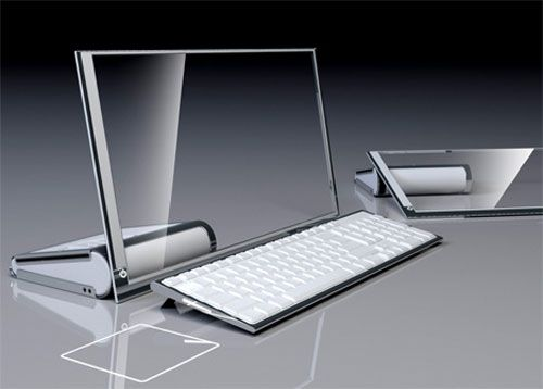 "!!!HP LIM Glass computer!!! A computer equipped with a transparent LCD 19 ""Touchscreen will make your computer use more comfortable."