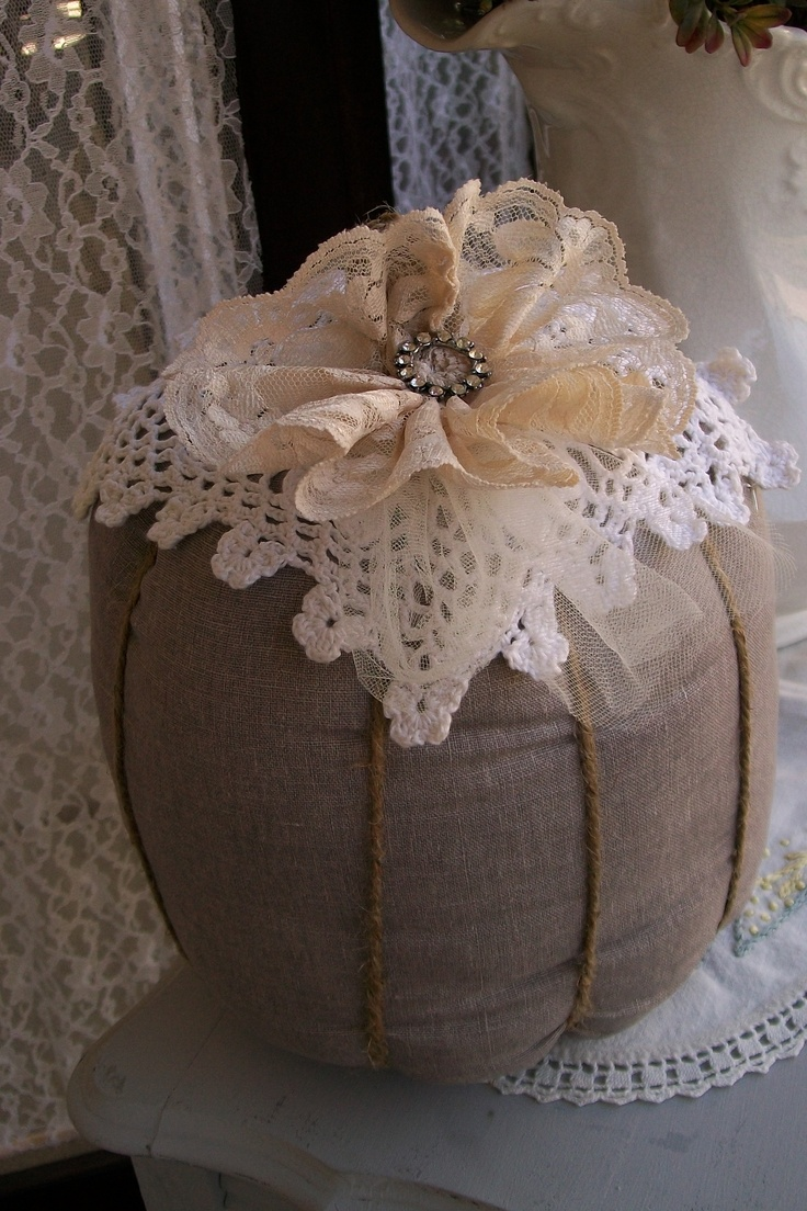 shabby chic pumpkin. Handmade by Junque Chic.