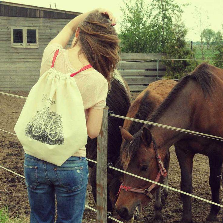 Bawełniany plecak worek eko torba w jednym, wyjątkowo pojemna, 50 x 49 cm #backpack #bike #shopping #bag