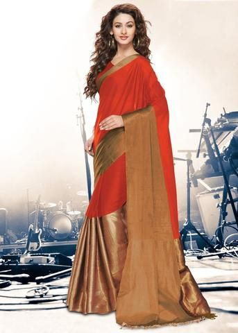 Orange Color Cotton Casual Party Wear Sarees : Vidhita Collection YF-42799