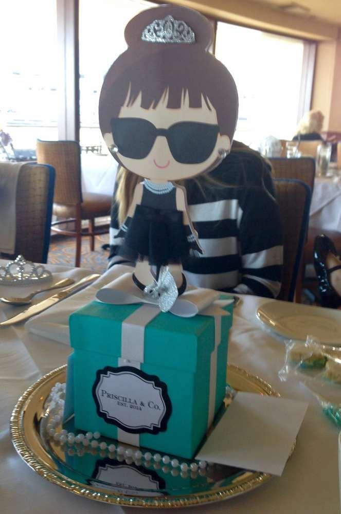 Cute centerpiece at a Breakfast at Tiffany's birthday party! See more party ideas at CatchMyParty.com!