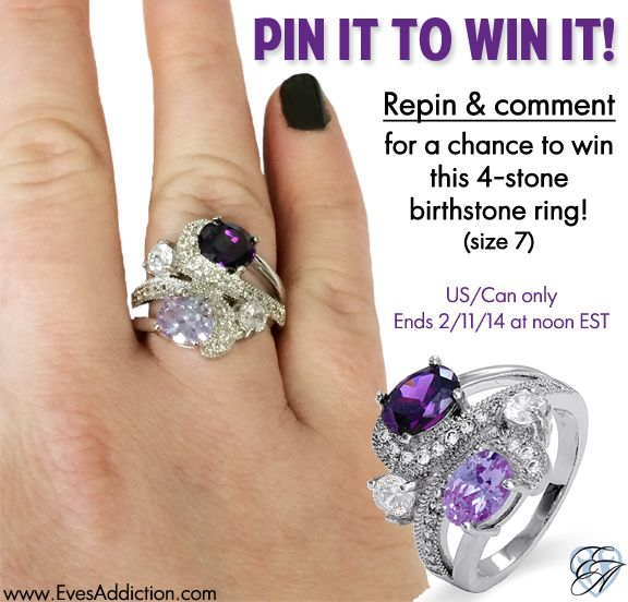 Pin to Win this Fancy Swirl 4-stone Birthstone Ring! (Size 7)  How to enter:  1. Repin this pin. 2. Comment on this Pin. 3. Follow @Eva Koninckx Saylor Addiction on Pinterest  US/CAN only. One winner selected at random 2/11/14 at noon EST.